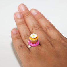 Kawaii Miniature Food Rings - Mini Sunflower Cupcake (Pink). $10.00, via Etsy.