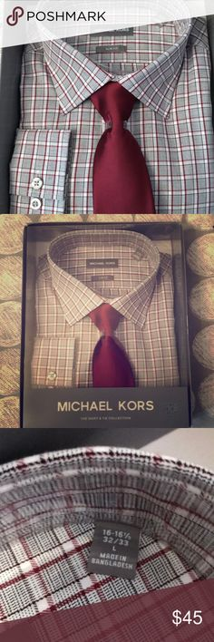 Michael Kors men's shirt&tie set New in original packaging!! Michael Kors The Shirt and Toe Collection. Slim fit, size large (16-16.5, 32/33). Bought as a gift for my dad this Christmas and but it wasn't the right size and he never exchanged it. His loss is your gain!! White/black/deep red plaid shirt with matching deep red tie. Michael Kors Shirts Dress Shirts