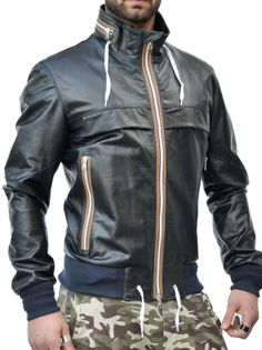 Giubbino sportivo in pelle mod. Play - Pellein.com - Leather Jacket for Man