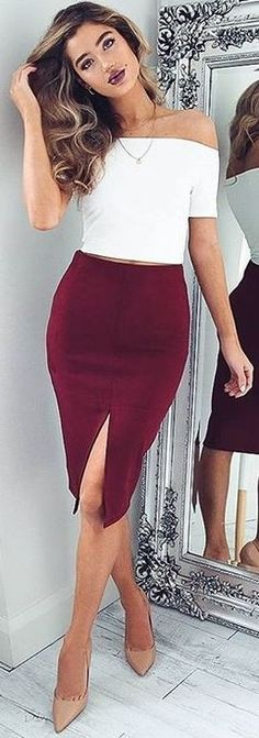 White Crop + Burgundy Skirt                                                                             Source