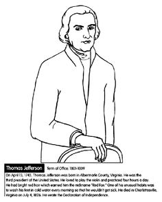 US President Thomas Jefferson Coloring Page