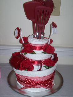 Bridal Shower Towel Cake   can customize with brides color selection..fun and functional