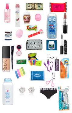 """Diy emergency kit"" by tyraruss1 on Polyvore featuring Forever 21, Happy Jackson, Dove, H&M, Monki, Eos, The Wet Brush, NARS Cosmetics, Victoria's Secret PINK and River Island"