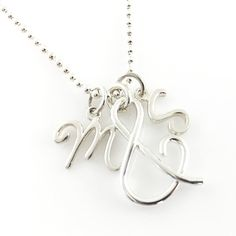You & Me Initial Charm Necklace with ampersand  sterling