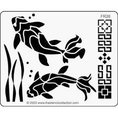 scrapbook stencils | Stencil Collection Koi Fish Embossing Brass Stencil for Scrapbooking ...