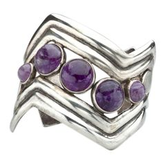 William Spratling, Mexico, 1940's, Amethyst Sterling Cuff Bracelet			  			1940's