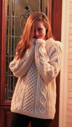 Cozy Hand Knit #Irish Fishermans Sweater //