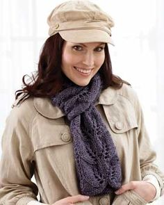 A simple lace repeat makes this scarf light and elegant. Shown in Bernat Alpaca.