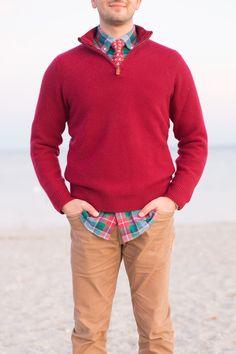 cherry red half zip sweater, red/green/blue plaid shirt, tan cords