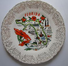 Vintage Florida Souvenir Plate Orange Map with Cities