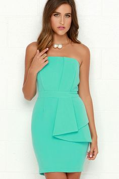 Pleased and Thank You Strapless Mint Green Dress at Lulus
