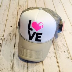 New palm tree heart LOVE trucker hat. All sizes by ArieBdesigns