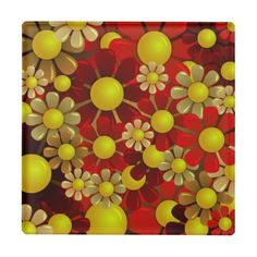 Beautiful Red Yellow Flowers Fine Retro Floral Drink coasters. http://www.zazzle.com/beautiful_red_yellow_flowers_fine_retro_floral_glass_coaster-256460283881456851?rf=238805303691357912