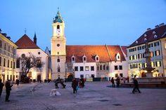 Quaint town square in Bratslava, Slovakia.
