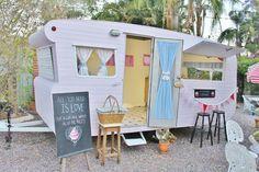 Cute Pink Vintage Retro Mobile Food Caravan Market Trailer Catering Coffee Cupcake Van Trailers RV on Ebay.