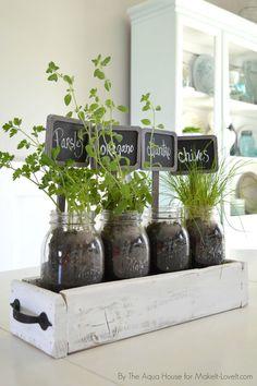DIY Table Top Herb Garden...from an old pallet! | via Make It and Love It #kitchenherbgarden #herbsgardening