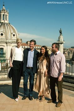 Producer Lionel Wigram and Director Guy Ritchie with the ladies from U.N.C.L.E., Elizabeth Debicki and Alicia Vikander, in Rome. | The Man from U.N.C.L.E.