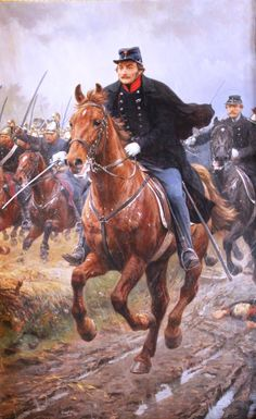 General Frederik Adolf Schleppegrell of Denmark leading the charge of the Danish dragoons, Schleswig War