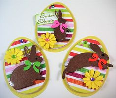 Three Easter Egg Scrapbook Embellishments Easter Card Topper
