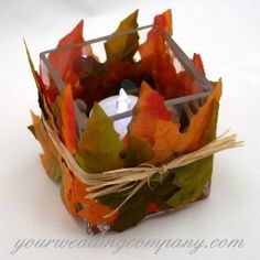 Reception, Centerpiece, Green, Orange, Brown, Fall, Candle, Table, Glass, Square, Decoration, Your wedding company, Autumn, Leaves, Raffia, Silk leaves