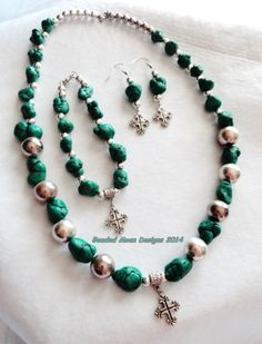 chunky chalk turquoise & cross set ~ https://www.facebook.com/pages/Beaded-Moon-Designs/229870373249
