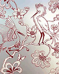 Egrets Caughlan Red/Winnow från Signature Prints
