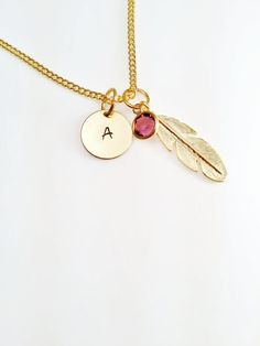 SALE Gold Initial Necklace on a Disc with Feather & birthstone, Personalised Jewellery. Gold Plated Jewellery, Great Mothers Day Gift idea $16.57