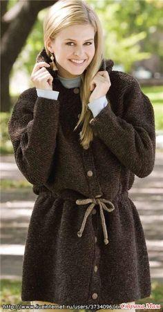 Вязаная спицами удлинённая куртка-парка - Страна Мам