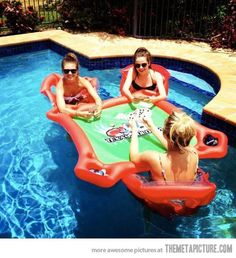 Inflatable game table--> I will have this this summer to have on our pond in the backyard! hellll yes!