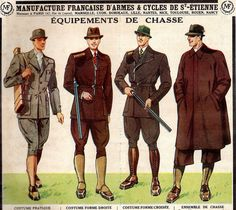 1930S FRANCE--MEN'S HUNTING OPTIONS (DIG THE CRAZY GAUCHO PANTS LOOK ON THE END!!)