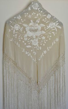 Your place to buy and sell all things handmade Wedding Dress Accessories, Vintage Accessories, Evening Shawls, Silk Shawl, Elegant Outfit, Embroidered Silk, Dance Wear, Bridal Style, Color Patterns