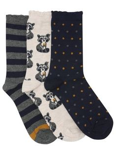 Racoon Spot And Stripe Print Ankle Socks Three Pack | Women's Socks | M&Co.