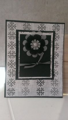 black and white floral Female Card Handmade by jennrainescreations, $3.25