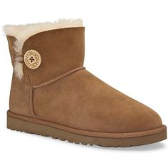 UGG Australia Women's Mini Bailey Button Chestnut Boots ($135) ❤ liked on Polyvore