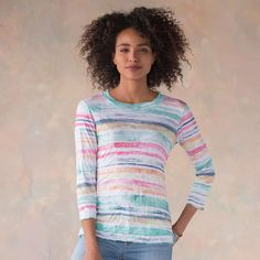 """COASTAL COLORS TOP--Swathes of watercolor brushstrokes enhance this soft crinkled, three-quarter sleeve shirt with merrow stitched details. Polyester/rayon. Machine wash. USA. Sizes XS (2), S (4 to 6), M (8 to 10), L (12 to 14), XL (16). Approx. 23""""L."""
