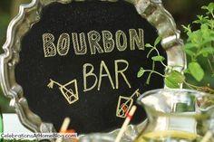 chalkboard silver tray sign - bourbon tasting bar