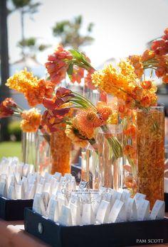 All my wedding flowers: Karen Tran Florals Wedding Flower Arrangements, Wedding Centerpieces, Floral Arrangements, Wedding Decorations, Orange Centerpieces, Wedding Tables, Reception Table, Wedding Blog, Fall Wedding