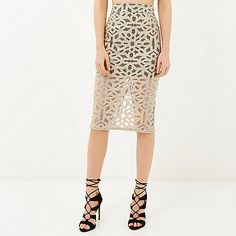 Beige woven lace layer pencil skirt - £35 #RiverIsland