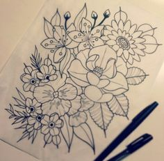 flower orchid drawing tattoo idea