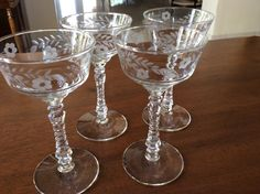 Set of 4 Rock Sharpe Halifax 3005 Champagne / Tall Sherbet Glasses #RockSharpe
