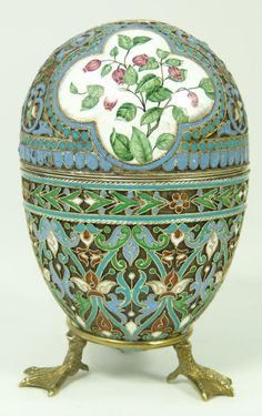 RUSSIAN__ SILVER ENAMELED FLORAL EGG