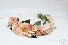 Peach flower crown Boho flower crown Bridal flower by ByKochetova