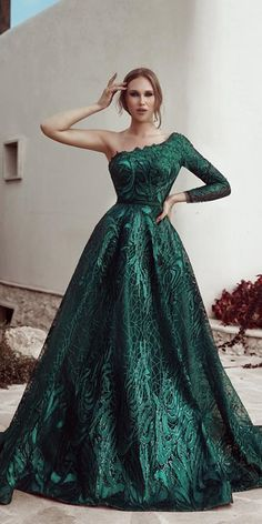 30 Fall Wedding Dresses With Charm ❤  fall wedding dresses green with one shoulder ball gown SaidMhamad #weddingforward #wedding #bride Green Wedding Dresses, Second Wedding Dresses, Second Weddings, Bridal Dresses, Wedding Gowns, Wedding Bride, Blue Weddings, Wedding Ideas, Wedding Rustic