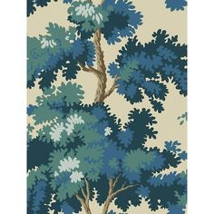 Scalamandre Raphael, Dark Blue Wallpaper For Sale Tree Leaf Wallpaper, Forest Wallpaper, Flower Wallpaper, Dark Blue Wallpaper, Blue Wallpapers, Wallpaper Roll, Wallpaper Ideas, Chic Wallpaper, Wallpaper Designs