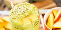 1 cup almond milk 2 to 3 handfuls of leafy greens 1 1/2 cups frozen mango 1 1/2 cups frozen peach slices 1 tablespoon hemp seeds 1 tablespoon buckwheat groats 1 tablespoon maca powder, optional 1 teaspoon matcha powder 1. Combine all ingredients in a blender and blend until smooth. 2. Enjoy!
