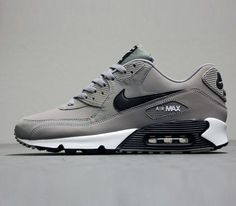 Nike Air Max 90 Grey-White-Black / Follow My SNEAKERS Board! i want a pair of air maxs for christmas sooo bad lol