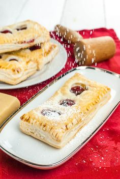 Puff pastry pockets with cherry-marzipan filling