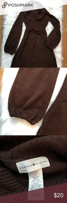 London Style Sweater Dress Tie Waist SZ Large Pre-owned. Excellent Condition.   Chocolate Brown Sweater Dress.  Cowl Neck. Tie Waist. Balloon Sleeve. london style Dresses