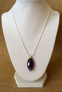 Purple Crystal Necklace  Marquise Pendant by TheJewelryBoxe