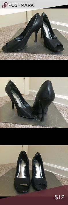 BCBGirls Black Leather Peep Toe Pump BCBG Black Leather Peep Toe Pump BCBGirls Shoes Heels